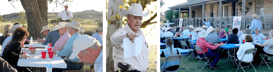 three images of a ranch gathering